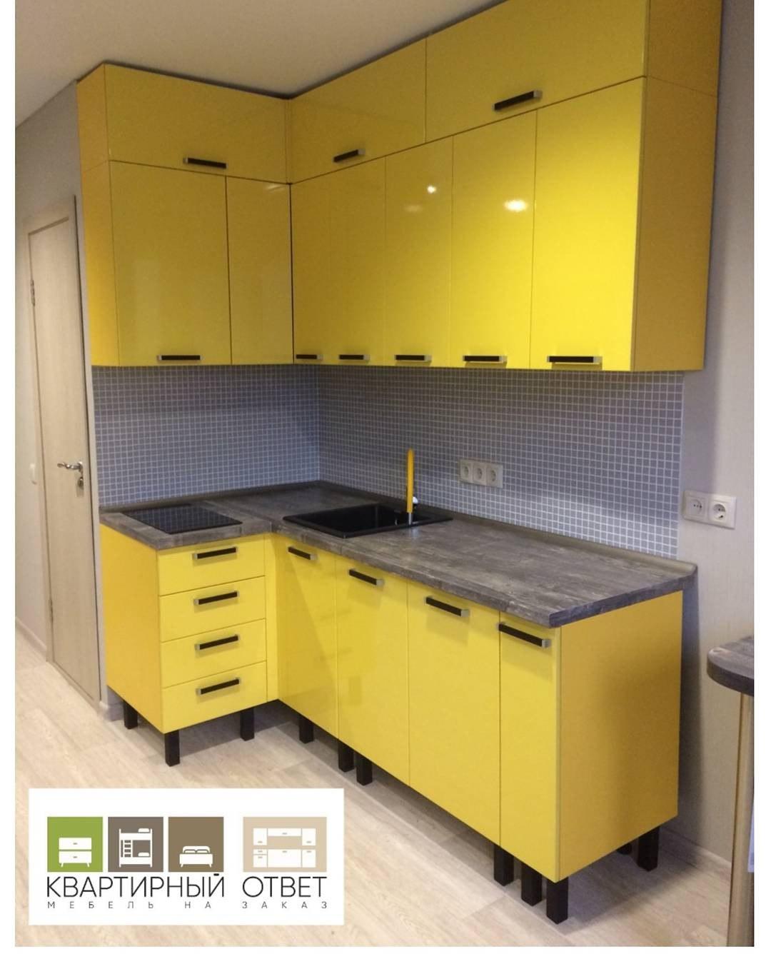 Кухни на заказ в Воронеже. Желтая кухня. Желтая кухня на заказ по индивидуальному проекту.